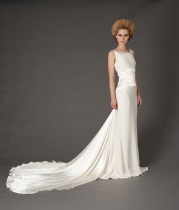 Douglas Hannant Sheath Wedding Dress with Bateau Neckline and Dropped Waist Waistline