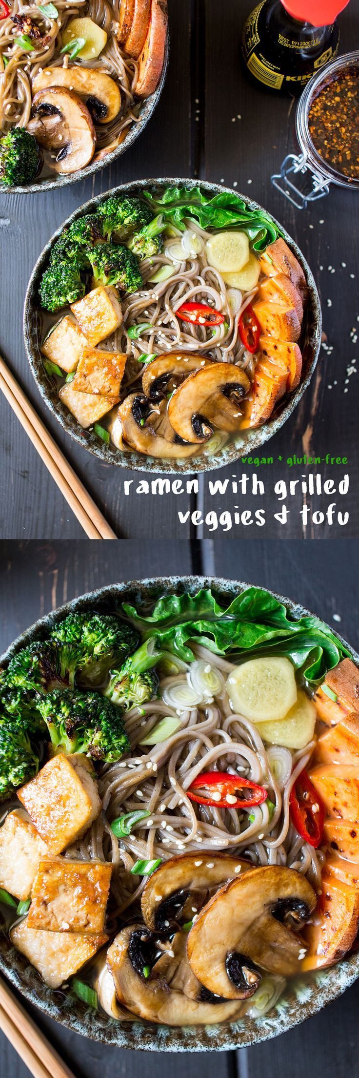 Vegan ramen with grilled vegetables and tofu is a delicious, vegan and gluten-free meal that will warm you up on a cold day and give your immune system a boost.