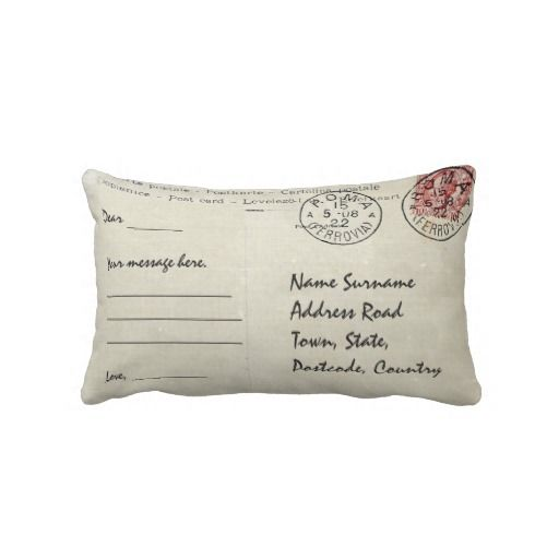 Personalized postcard design throw pillow