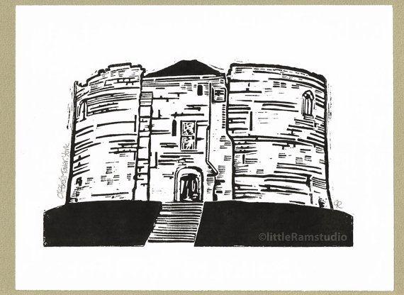 Clifford's Tower York  Linocut Original by littleRamstudio on Etsy