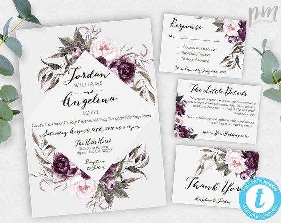 Purple Wedding Invitation Template Set Printable Plum Floral