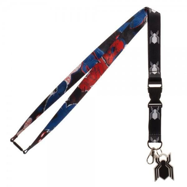 OFFICIAL MARVEL COMICS SPIDER-MAN HOMECOMING ALL OVER PRINT BLACK LANYARD NEW