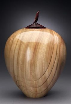 """Dixie Biggs - Go with the Flow 2002, woodturning, camphor and cocobolo, 14 1/2""""high x 10""""diam"""