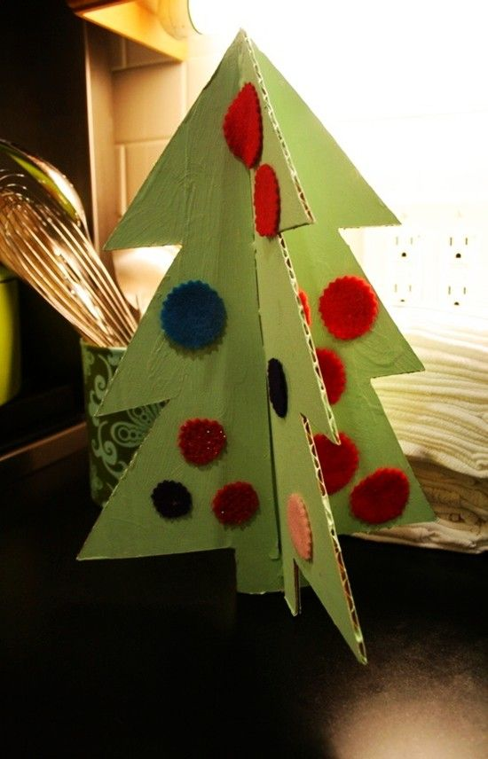 DIY Cardboard Christmas Trees Idea in 2013, Classroom Christmas Tree Craft.