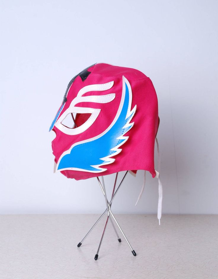 90s Luchadores pink and blue wrestling costume full face mask mexican pro free fight womens mens vintage halloween by furhatguild on Etsy