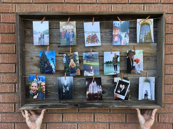 Barn wood picture frame. #rustic #barnwood #clothespin #collage #farmhouse