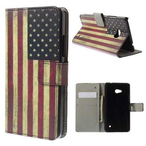 Mesh - Microsoft Lumia 640 Hoesje - Wallet Case Vintage Amerikaanse Vlag | Shop4Hoesjes
