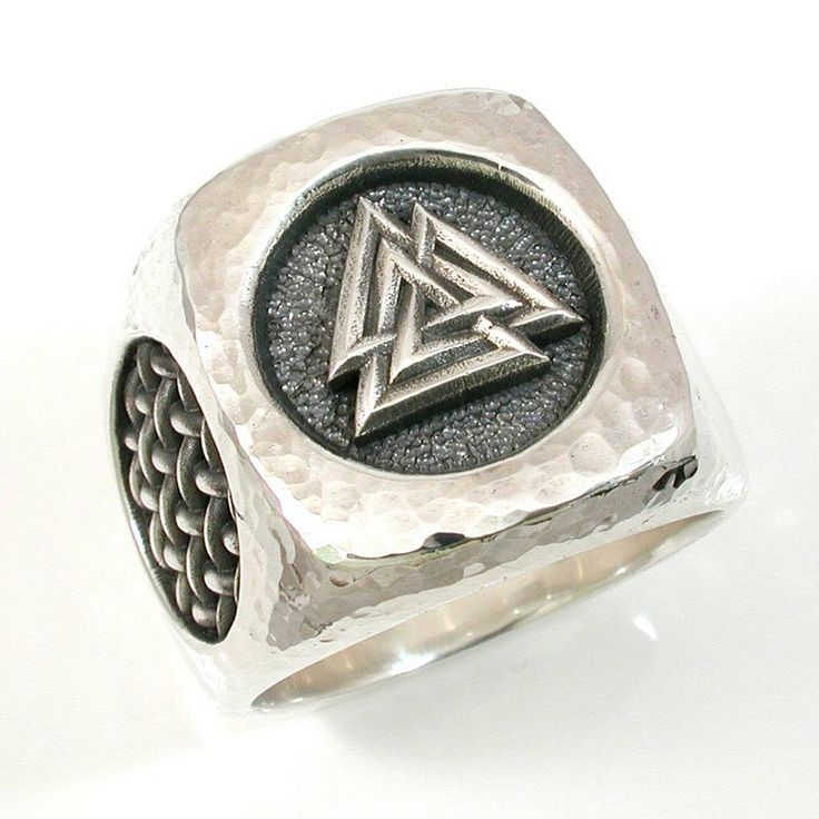 Hammered Silver Valknut Ring Viking Jewelry Rings