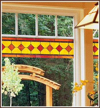 The Reno stained glass border is the easy way to add the beauty of stained glass to mirrors, windows and glass doors.