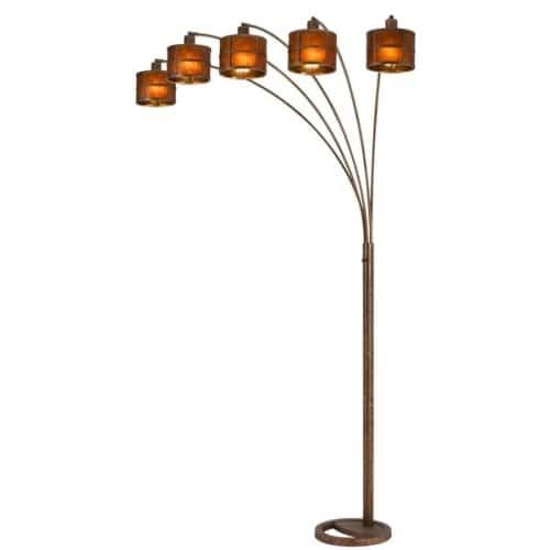 Cal Lighting BO-2036-5L Mica Arc 5 Light 85 Tall Arc Floor Lamp with Mica Shade - Rust (Red)
