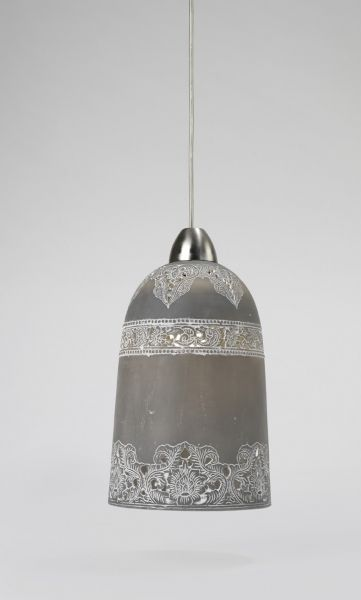 Pendant light with spray painted design