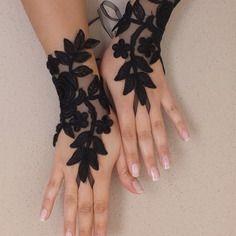 Dentelle noir de mariage paire de gants, gants de dentelle gothique, steampunk, sexy en dentelle gants, gants paire de mitaines,