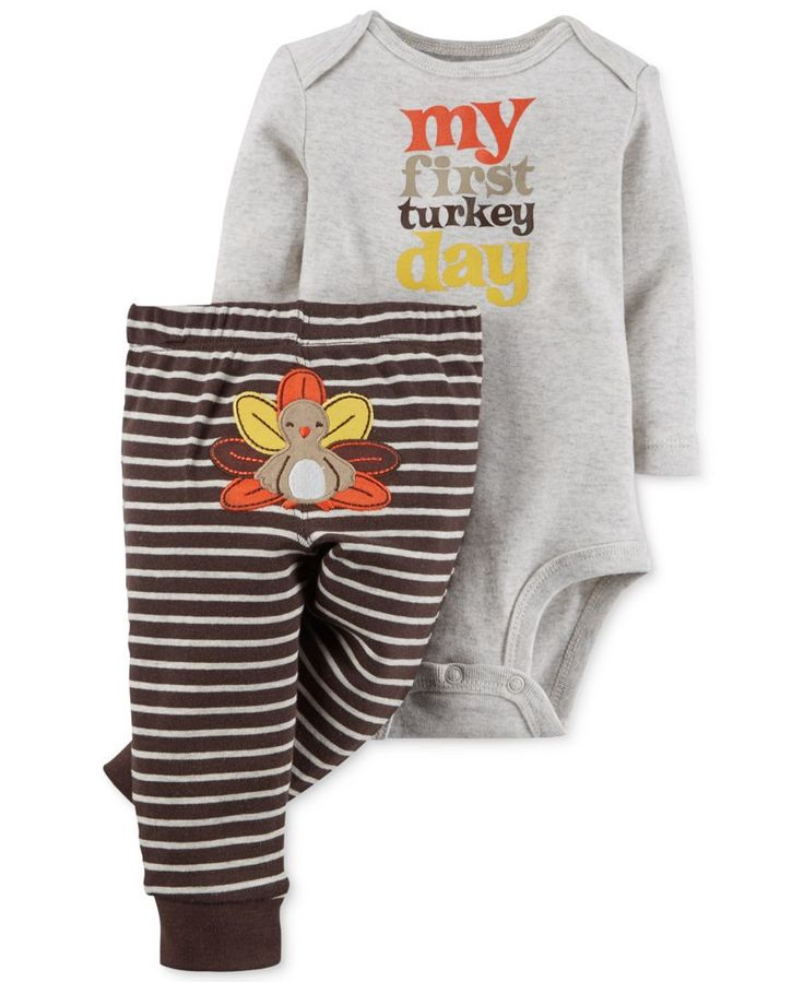 Carter's Baby Boy's or Baby Girls' 2-Piece First Thanksgiving Body Suit & Leggings Set