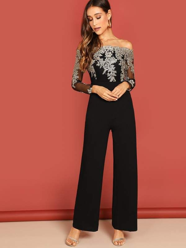 bc3063a7ee Off Shoulder Embroidered Mesh Panel Jumpsuit