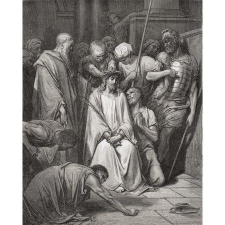 Engraving From The Dore Bible Illustrating Matthew Xxvii 29 And 30 The Crown Of … – Bilblische Bilder und Zeichnungen