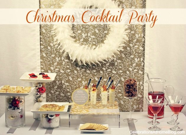 Christmas cocktail party ideas. And I have a cream feather wreath!