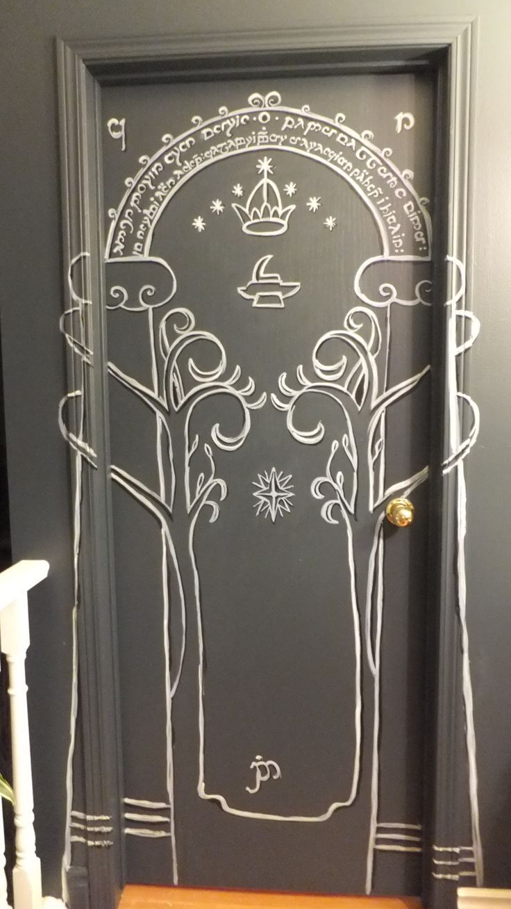 lord of the rings the mines of moria doors of durin painted on bedroom door for my daughters. Black Bedroom Furniture Sets. Home Design Ideas