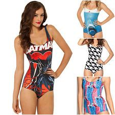LADIES SWIMMING COSTUME SWIMSUIT SWIMWEAR COMIC CARTOON WOMENNS SIZE 8 & 10