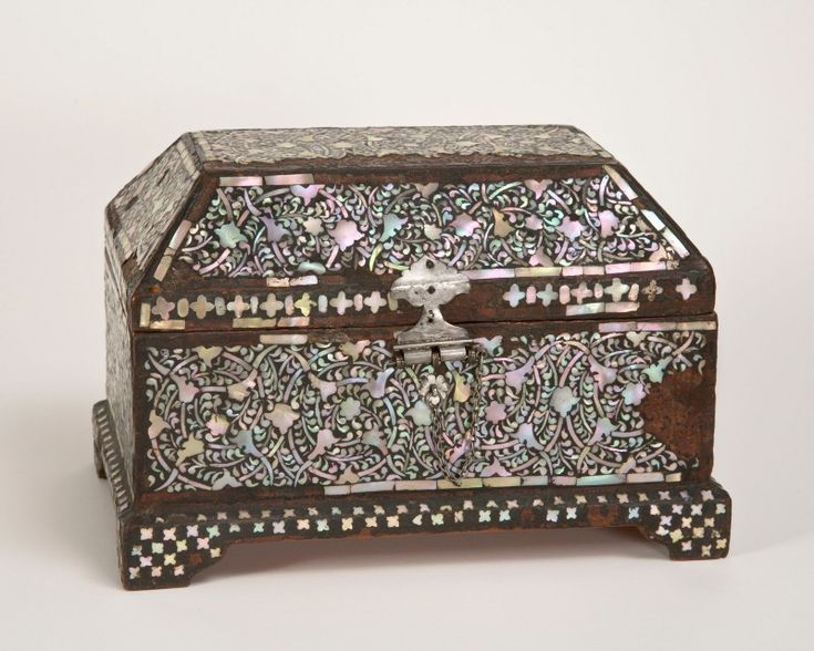 Gujarati Casket, about 1600, Indian (Gujarat), Wood coated with colored resin and inlaid with mother-of-pearl, silver mounts, 19.5 x 20 x 19.5 cm