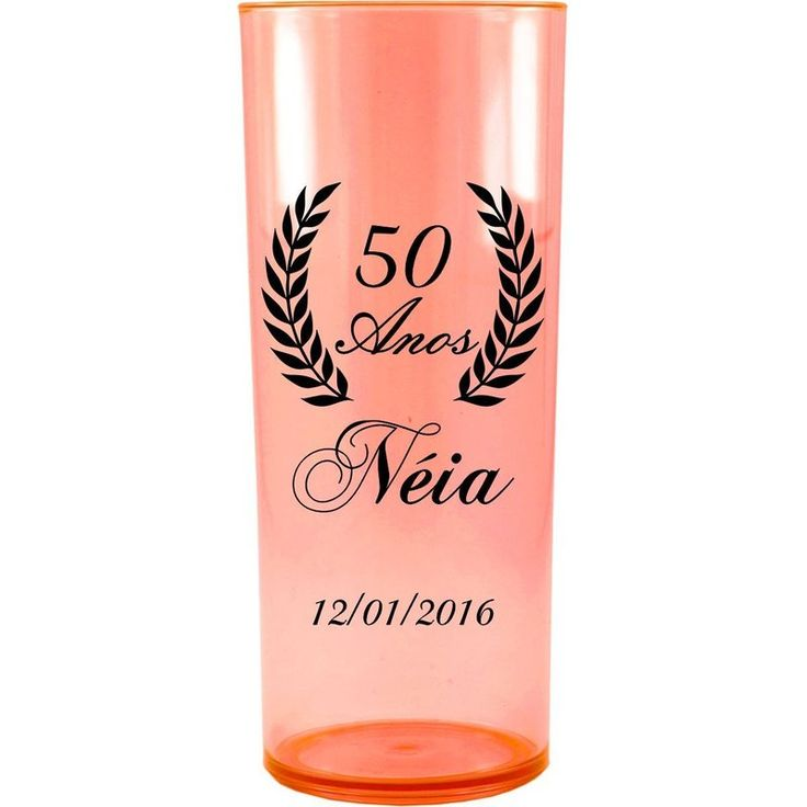 Copo Acrílico Personalizado Aniversário 50 Anos Laranja Neon - ArtePress | Brindes, Canecas, Copos de Acrílico Personalizado