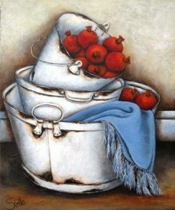 """Pomogranates in zinkbath"""