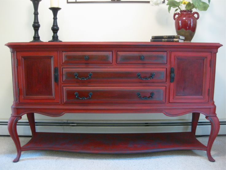Vintage American Drew Buffet Sideboard Refinished With Annie Sloan Graphite And Emperors SilkI Love That All Of These Are Using The Same Paint