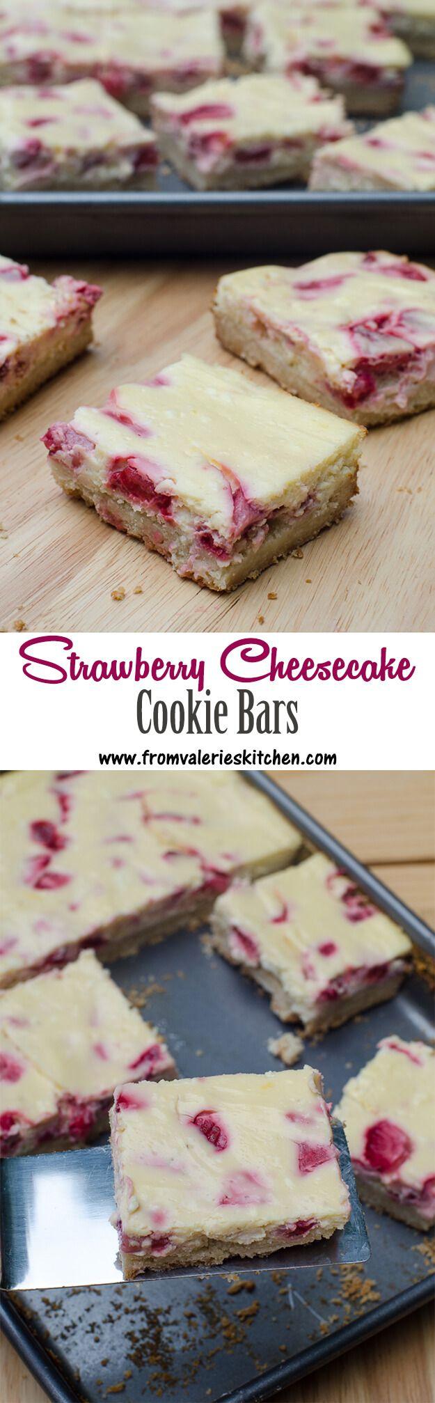 Fresh strawberry cheesecake baked over a shortbread cookie crust! ~ http://www.fromvalerieskitchen.com