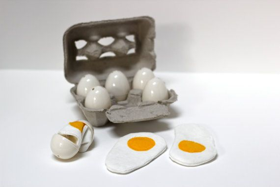 Crackable play eggs for kids play kitchen - Easter basket - personalized carton - birthday gift for girl or boy