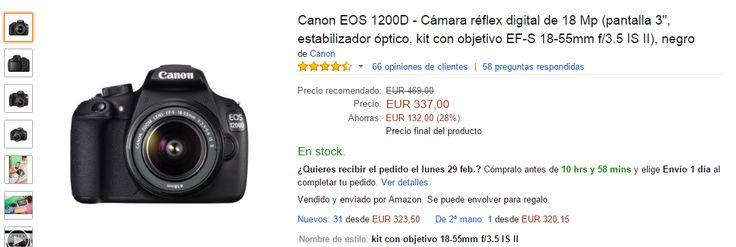 Chollo! Cámara reflex Canon 1200D a un precio increible! http://www.atrapatuchollo.com/camara-reflex-barata/ #cámara #reflex #canon #barata #atrapatuchollo