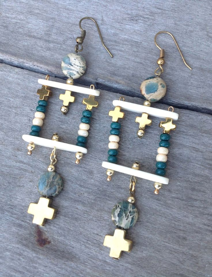 Handmade Tribal Earrings, Boho, African Turquoise, Cross, Festival, Goddess, Gypsy, Unique, Sexy, Bone, Celebrity (Jungle Paradise Earrings) by Zellla on Etsy