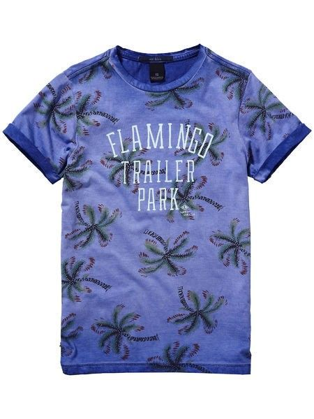 Bright Blue Printed Tee With Rolled Sleeves 51595