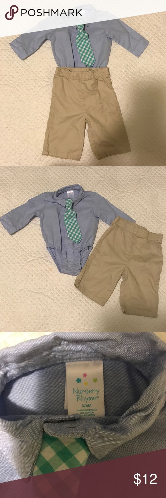 Nursery Rhyme 3 pc set baby boy size 3-6 mo Nursery Rhyme baby boy khaki and blue oxford with green and white tie set. Size 3 to 6 months, EUC, washed but never worn. Tie buttons on to shirt and is detachable, looks adorable with or without tie. So many possibilities with these pieces. $12 for the set, perfect outfit to wear to church or a wedding! Smoke free home. Nursery Rhyme Matching Sets