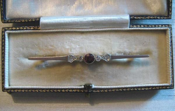 Ruby And Diamond Yellow Gold And Platinum Bar Brooch