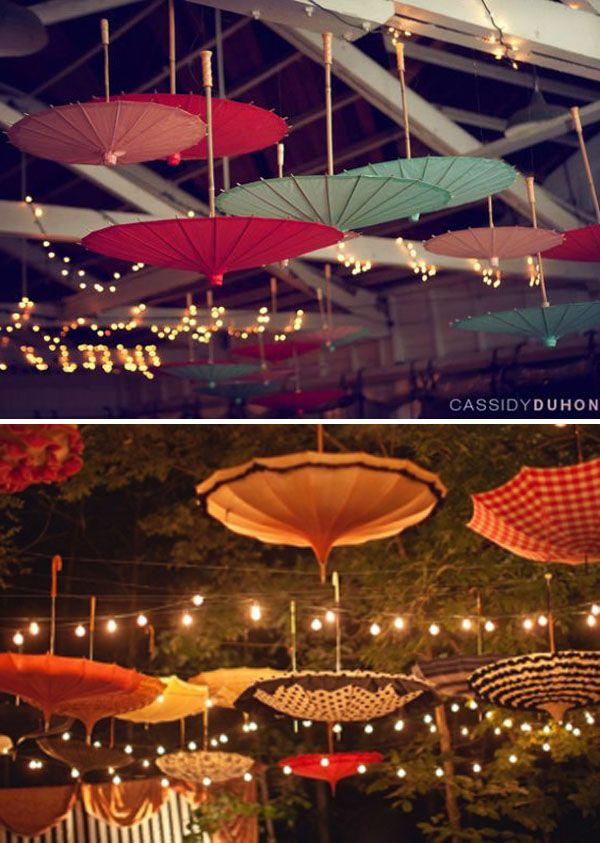 Upside down paper parasols and string lights. This is a perfect event idea for your wedding ceremony and reception! #ideas #wedding