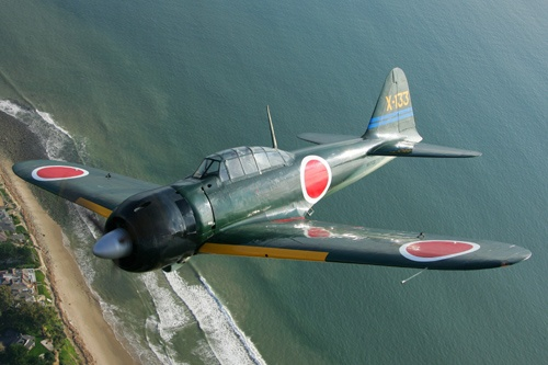 Mitsubishi A6M Zero...these aircraft are beautiful and were highly efficient. I prefer the white ones.