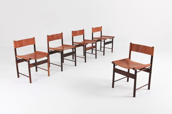 Bamboo Red Leather Dining Chairs By Jorge Zalszupin For L Atelier Brazil 1955 Set Of 5 Leather Dining Chairs Dining Chairs Chair