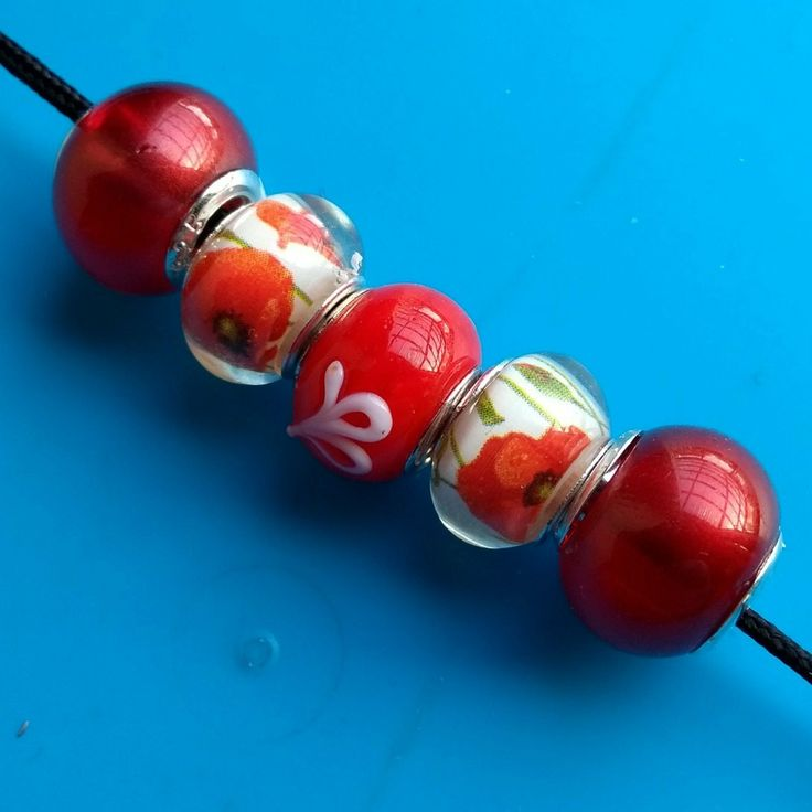 5 pcs lots of these Red European beads are now in stock in my #etsy shop. Please take a look. Thanks Fiona #beads #charms