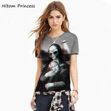 2017 Été T-shirt Femmes 3D Drôle Chemise Mona Lisa butin Hip Hop T Shirt Dames Tops Masculina Harajuku T chemise(China (Mainland))