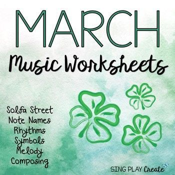 Music class March themed worksheets with Solfa street, rhythm and symbols will offer students opportunities to connect solfege symbols to their pictures. K-6 RESOURCE INCLUDES: This packet of 17 printables includes K-6 writing activities.