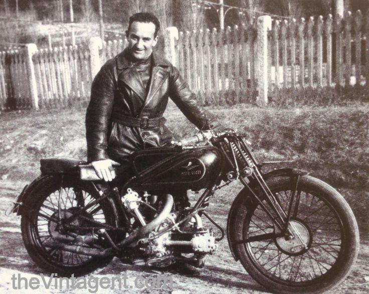 The 1934 500cc OHC Moto Guzzi v-twin, in Woods' first year racing with the Italians. Description from thevintagent.blogspot.com. I searched for this on bing.com/images