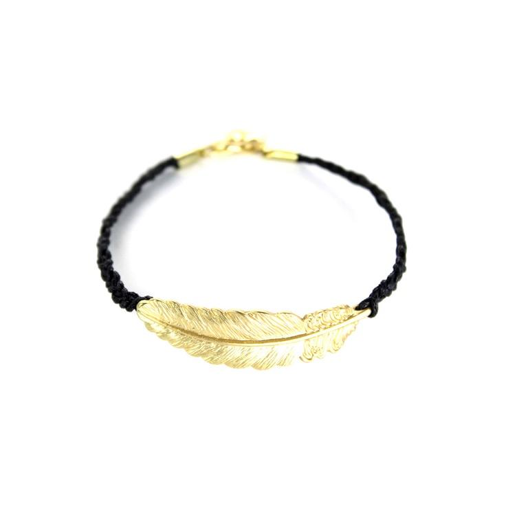 Feather Knit Bracelet --Black