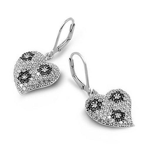 Bling Jewelry Sterling Silver Black CZ Heart Leverback Earrings