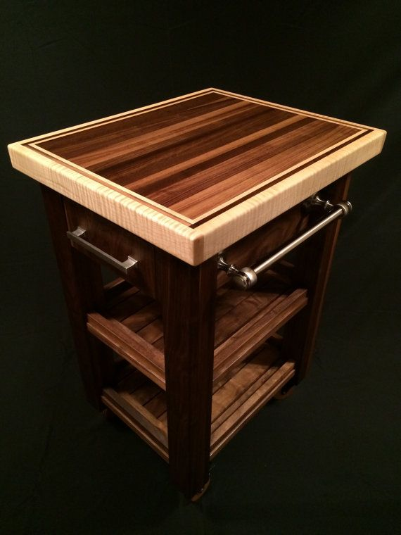 Solid black walnut & curly maple butcher block cart or kitchen island. The top is 24 x 20 inches in dimension. (2 inches thick - black walnut