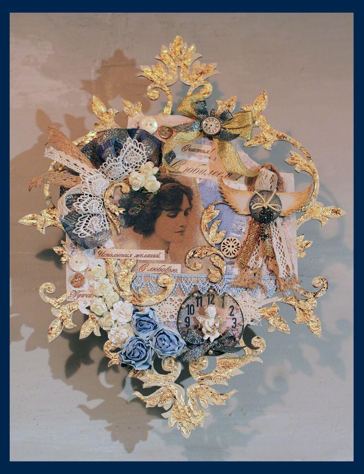 Необычная открытка-подвеска к юбилею. Основа оргалит ( заготовка под часы) с обработкой по краям поталью.