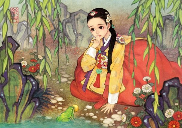 Beloved Fairy Tales Re-imagined in an East Asian Style by Korean artist Na Young Wu. The Princess and The Frog