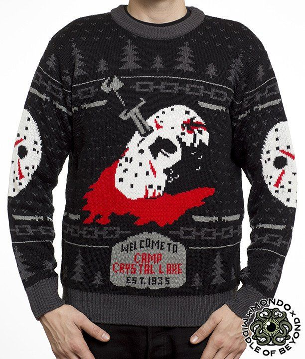 Product in Stock Ships in 1-2 Days Mondo x Middle of Beyond bring you this officially licensed Friday the 13th sweater. This sweater is made of 100% acrylic. Black, red, and gray in color. Size Chart