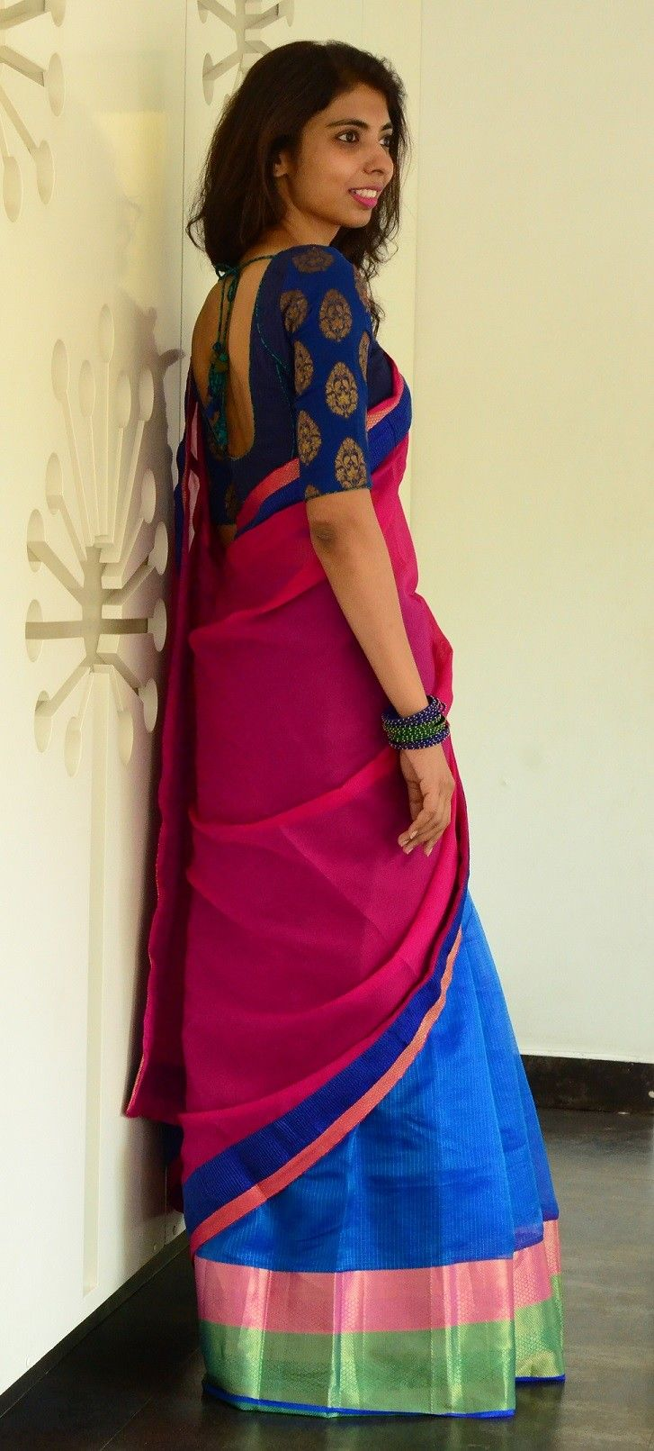 Half & half saree in pink and blue