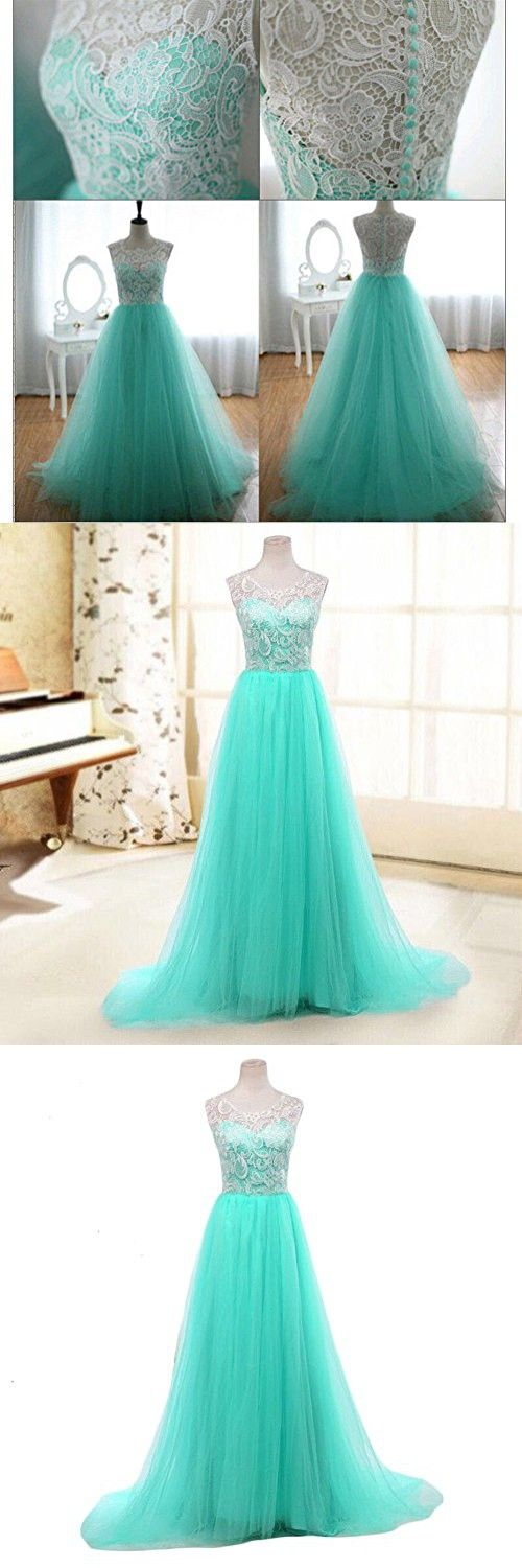 Women's Ball Gown Lace Bodice Sleeveless Tulle Skirt Prom Evening Dresses M Mint Green