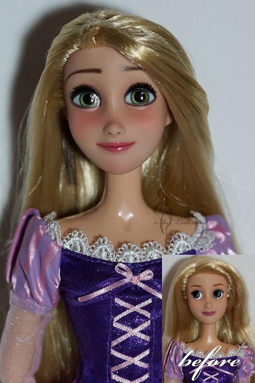 """Rapunzel doll Before/After. She used to be the 17"""" singing Rapunzel doll by the Disneystore, her face is completely repainted, she has real lashes, her hair is restyled. She looks SO much better!"""