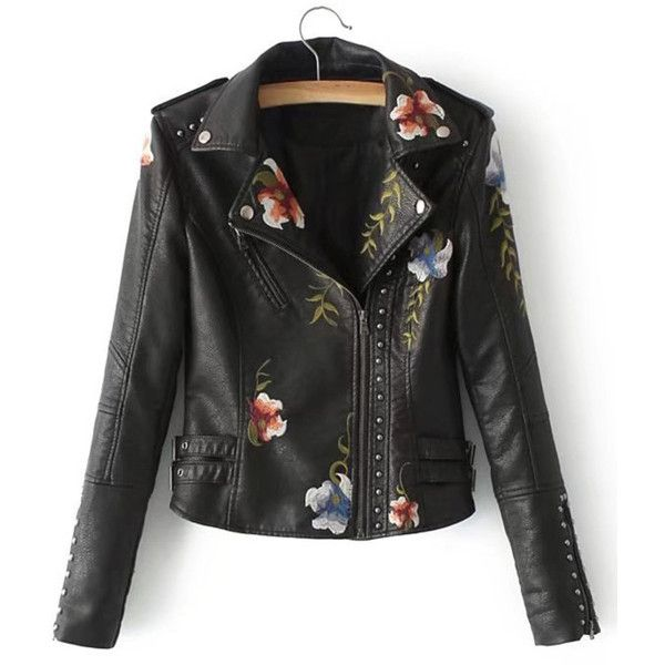 Flower Embroidery Studded Detail PU Biker Jacket ❤ liked on Polyvore featuring outerwear, jackets, biker jackets, studded biker jacket, floral embroidered jacket, pu jacket and polyurethane jacket